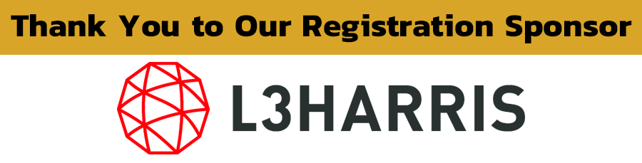 "Banner that says ""Thank you to our Registration Sponsor"" with L3 Harris Logo; logo is an image of the words ""L3 Harris"" next to a geometric red sphere."
