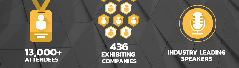 Infograph showing attendee and exhibiting numbers for 2019