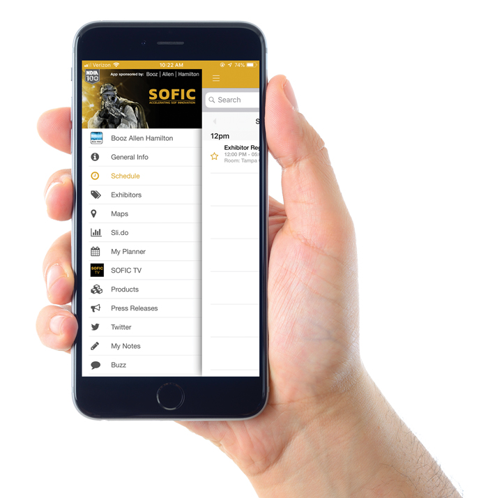 2019 SOFIC mobile app on phone being held