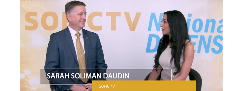 sarah soliman daudin interviewing james smith for SOFICTV at 2019 SOFIC