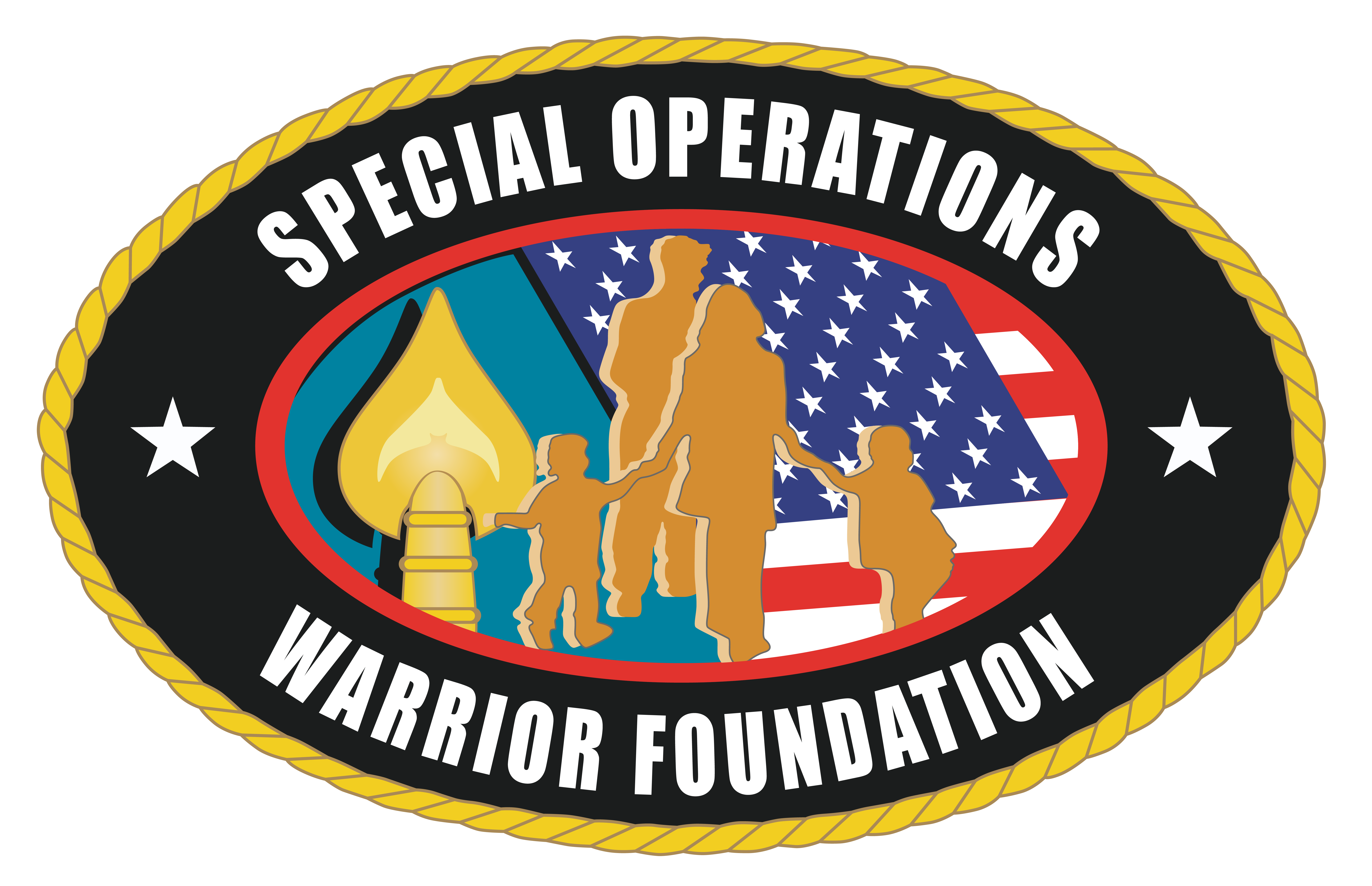 Special Operations Warrior Foundation logo; a black circle with the words, 'Special Operations Warrior Foundation' around the rim and an image of a family and an American flag in the center of the circle.